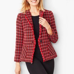 NWT Talbots Red Long Sleeve Twill Check Jacket